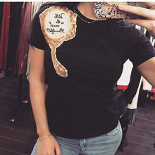 2017 Brand New Summer Tops Fashion Clothes for Women Shoulder Sequin Mirror Harajuku Kawaii T Shirt Women's T-Shirts Camisas