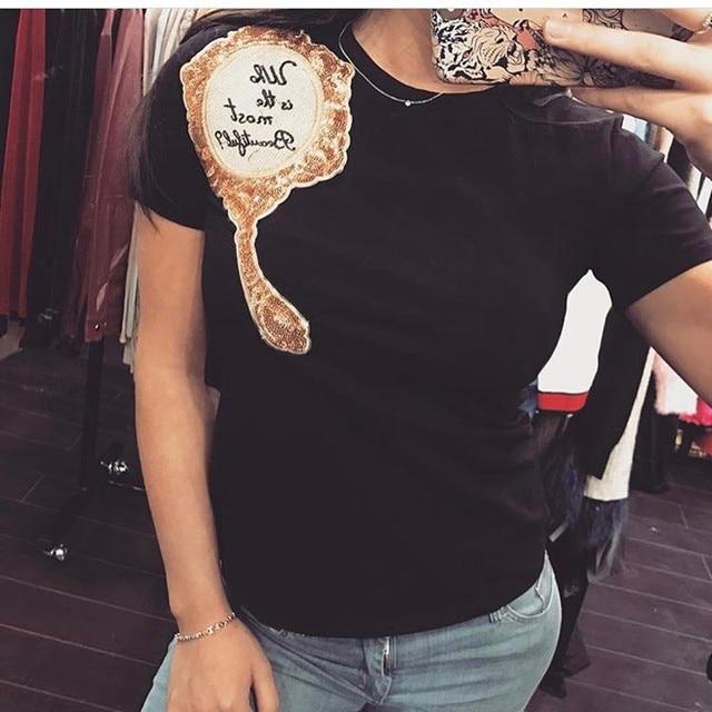 2017 Brand New Summer Tops Fashion Clothes for Women Shoulder Sequin Mirror Harajuku Kawaii T Shirt Women's T-Shirts Camisas