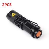 2PCS/set 2000 Lumens Flashlight Torch Q5 LED Zoomable Single Mode/3-Modes Mini Flash Light AA/14500 Torch linternas