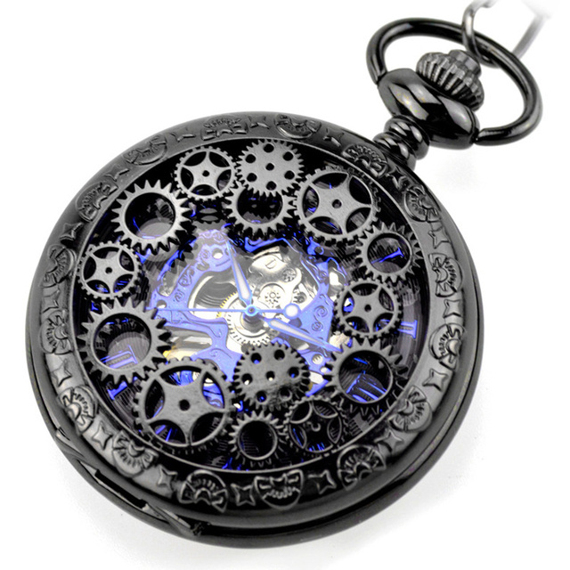 Steampunk Gear Pendant Black Vintage Pocket Watch Fob Chain Mens Women Mechanica