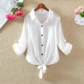 Damen Blouses Autumn Cotton Shirt Women Tops Casual White Blouse Adjustable Sleeve Length Fashion Cardigan Bandage Female Shirt