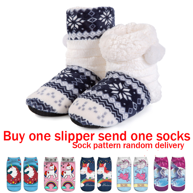 e795796635f34 Christmas Slippers Kids Slippers Girls Winter Warm Shoes Boys Children  Cotton Home Shoes Fur Boots Hairball 36-39