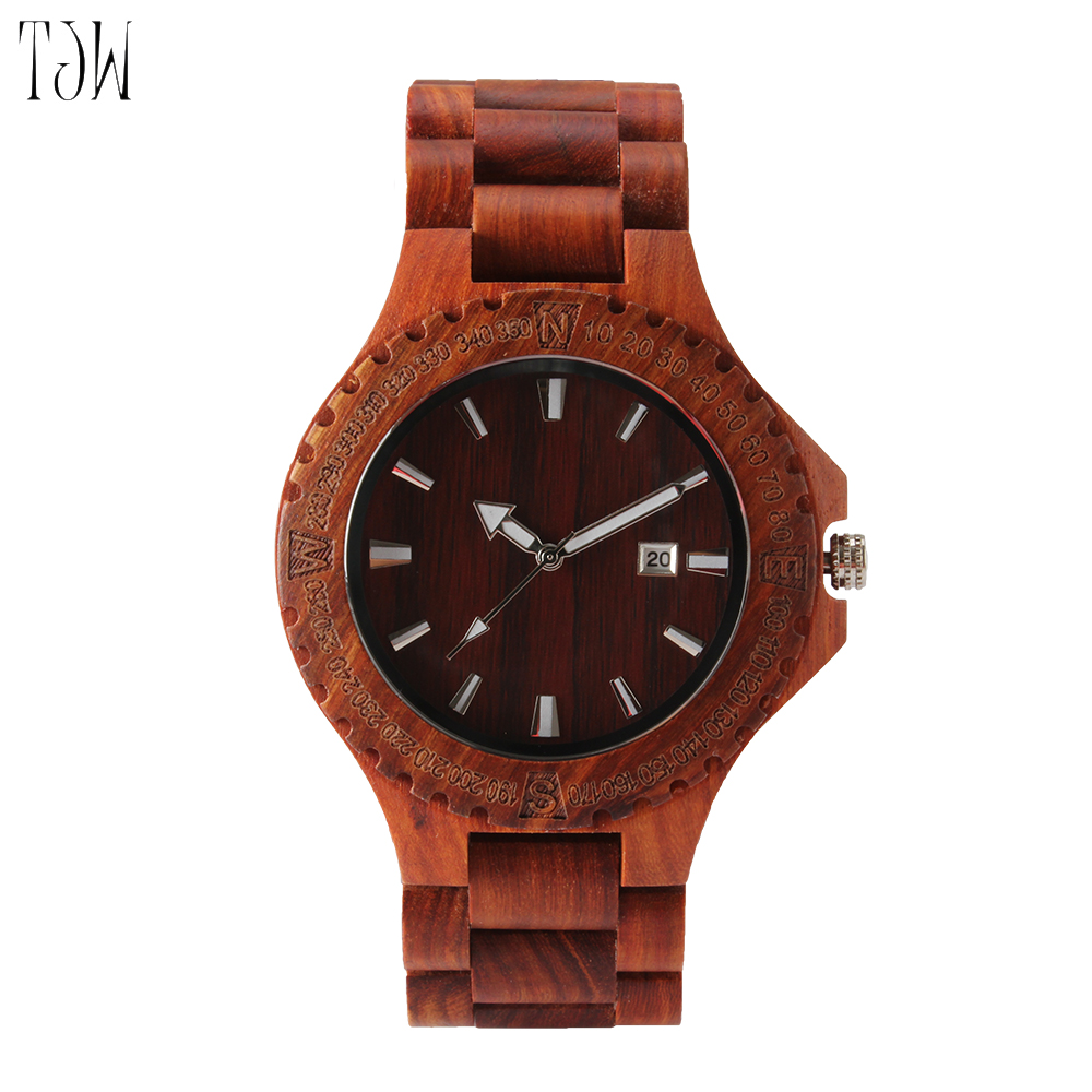 2018 TJW Full maple  All zebra wood All red sandalwood Handmade Wooden Wrist Watch bobo bird brand new sun glasses men square wood oversized zebra wood sunglasses women with wooden box oculos 2017