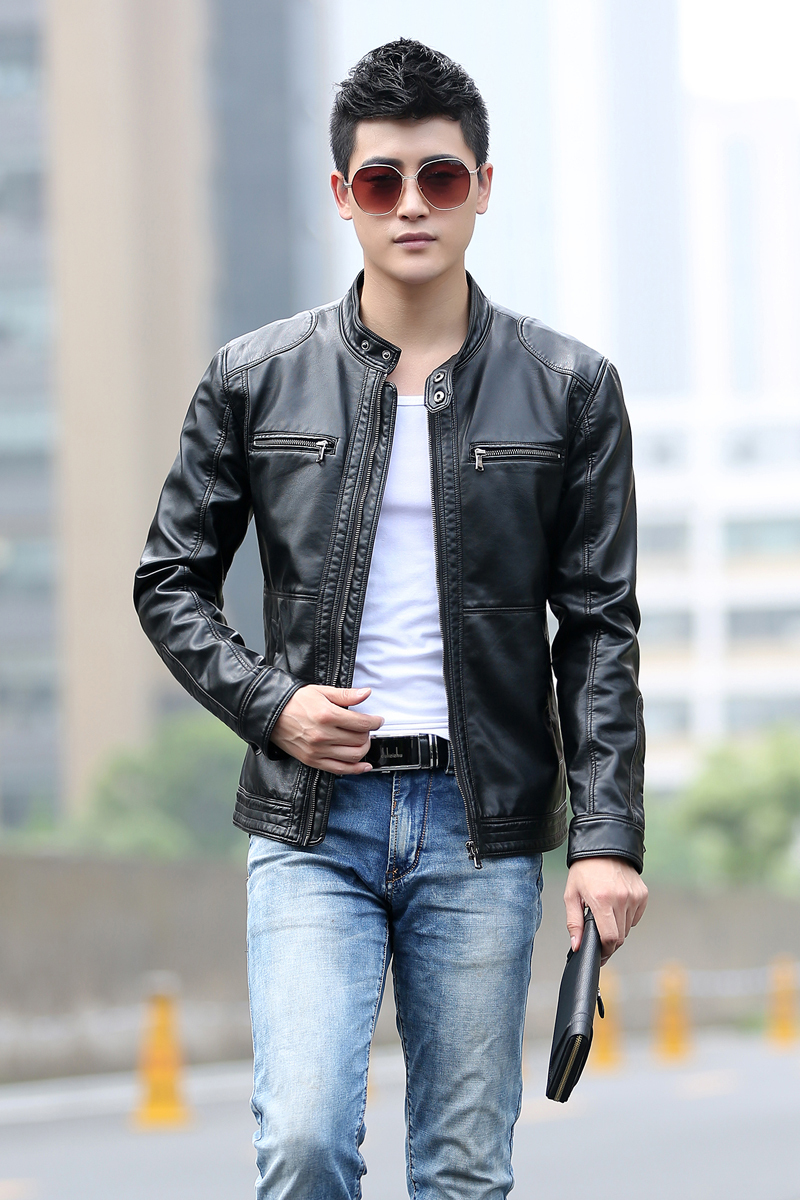 Winter men's leather jacket slim denim jeans trend personality ...