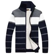 brand down coat with fleece thick warm padded cardigans knitted black gray sweaters knit jackets Parkas male zipper striped B011