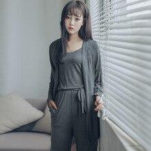 ชุดนอนผู้หญิงPijama Sheinชุดนอน 2019 ฤดูร้อนModalเสื้อกั๊ก + กางเกง + เสื้อสเวตเตอร์ถักชุด 3 ชิ้นผู้หญิงชุดชั้นในเซ็กซี่หลวมบ้านชุด