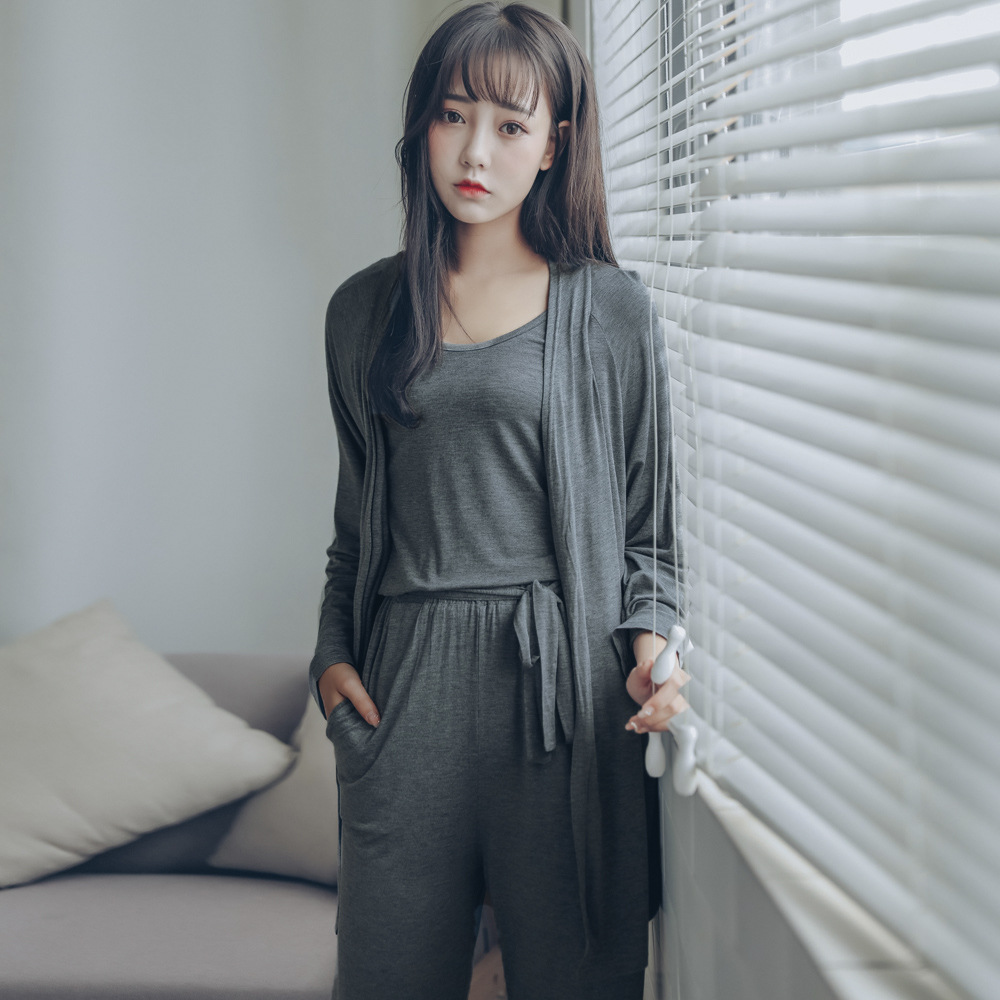Pyjamas Women Pijama Shein Sleepwear 2019 Summer Modal Vest+pants+cardigan 3 Pieces Set Women Sexy Lingerie Loose Home Suits