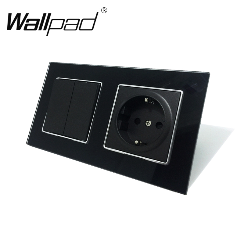 2 Gang Switch and Socket Wallpad Black Glass Panel 2 Gang 1 Way Switch and Schuko EU Wall Power Socket with Haken Mount Back2 Gang Switch and Socket Wallpad Black Glass Panel 2 Gang 1 Way Switch and Schuko EU Wall Power Socket with Haken Mount Back