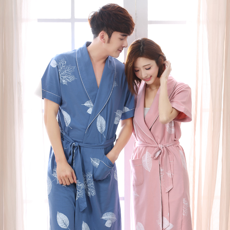 Couple robes summer thin knited cotton lovers bath robe plus size 3XL bathrobe male and female spas nightgown home clothing