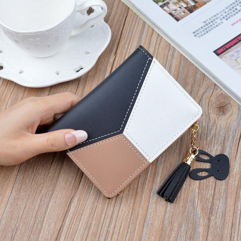 Новое поступление, кошелек, короткие женские кошельки, на молнии, кошелек, пэчворк, модные, со вставками, кошельки, трендовые, портмоне, держатель для карт, кожа - Цвет: Черный