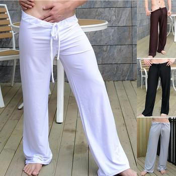Usa rozmiar 2019 nowych mężczyzna wysokiej elastyczne wygodne Homewear joga spodnie na co dzień długie spodnie piżamy wiosna jesień Plus rozmiar S-4XL tanie i dobre opinie Mężczyźni Spać dna COTTON Elastan MPANTSHOME907009 Stałe Suknem Linadoreme White Black Gray Coffee S M L XL XXL 3XL 4XL