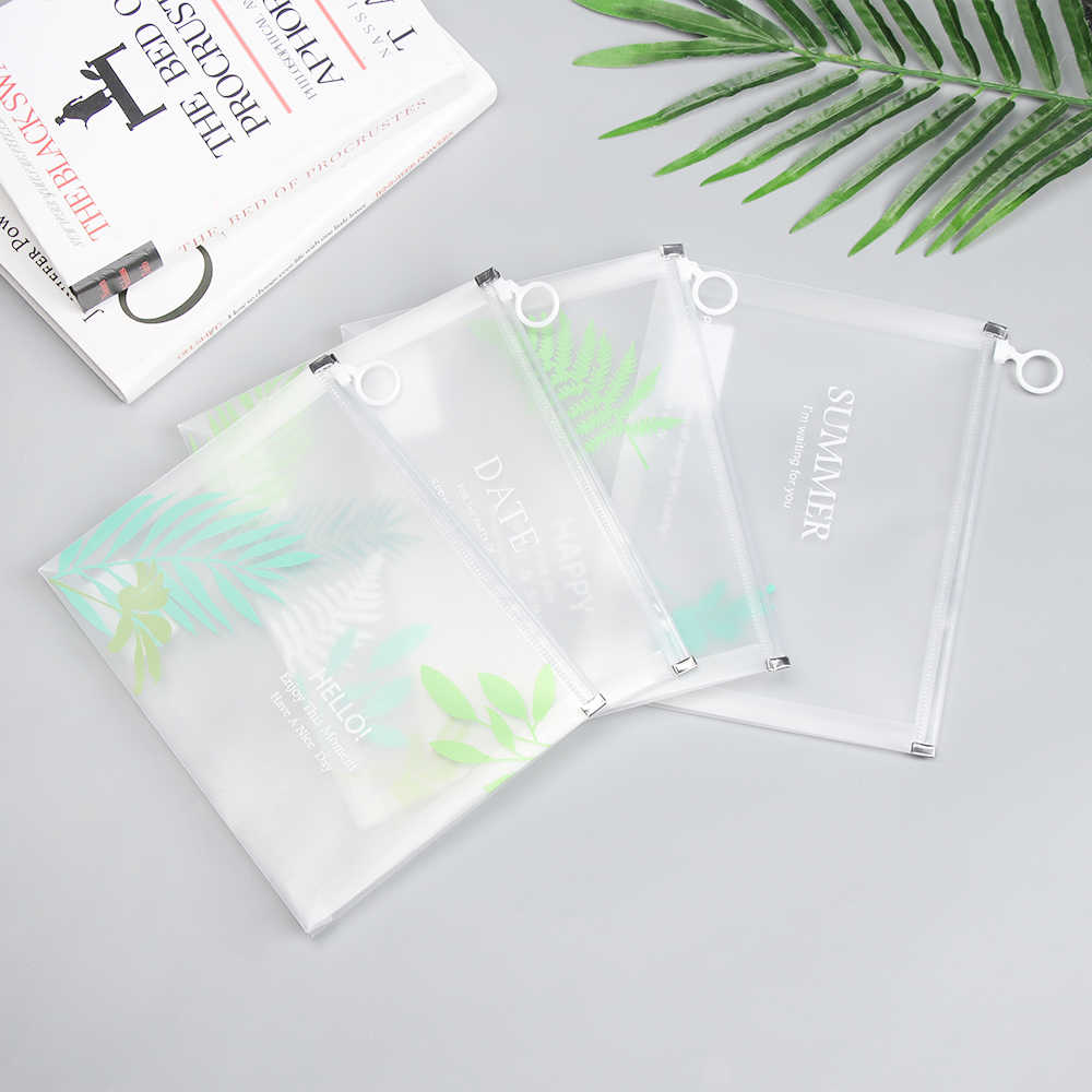 Transparent Ring Zipper Document Bag Paper Holder Waterproof Pencil Case Big Capacity Storage File Bag School Office Supplies