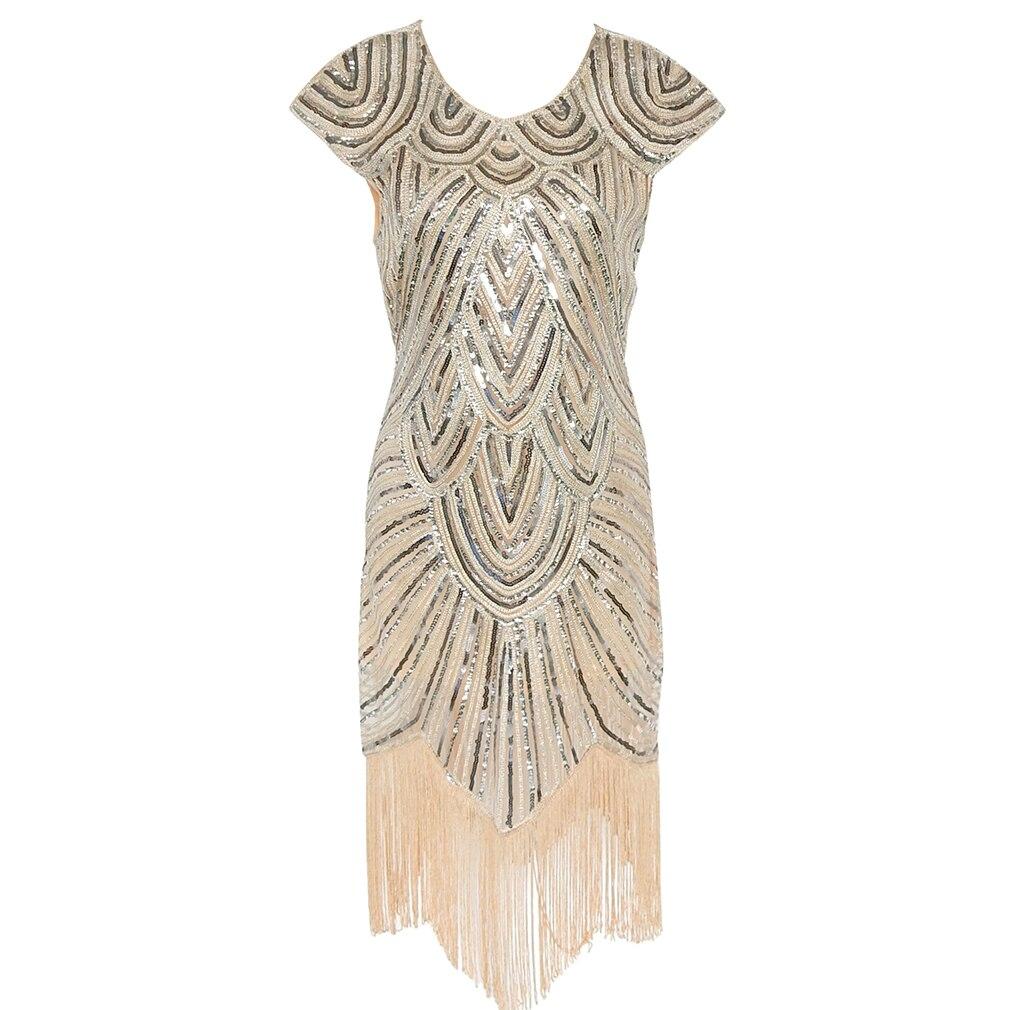 Vestido Gatsby de las mujeres vestido de Flapper de los años 20 de las mujeres con lentejuelas hechas a mano adornado vestido de flecos vestido de fiesta de la vendimia de Gatsby