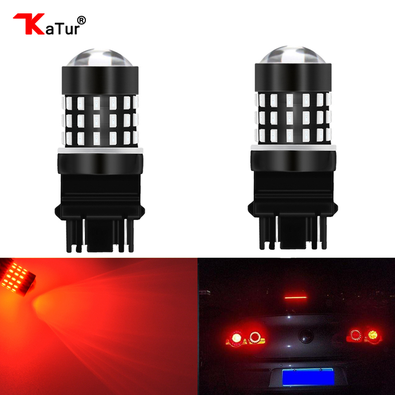 2x 3157 Switchback Turn Signal Light 54SMD Dual Color White Amber Projector Bulb