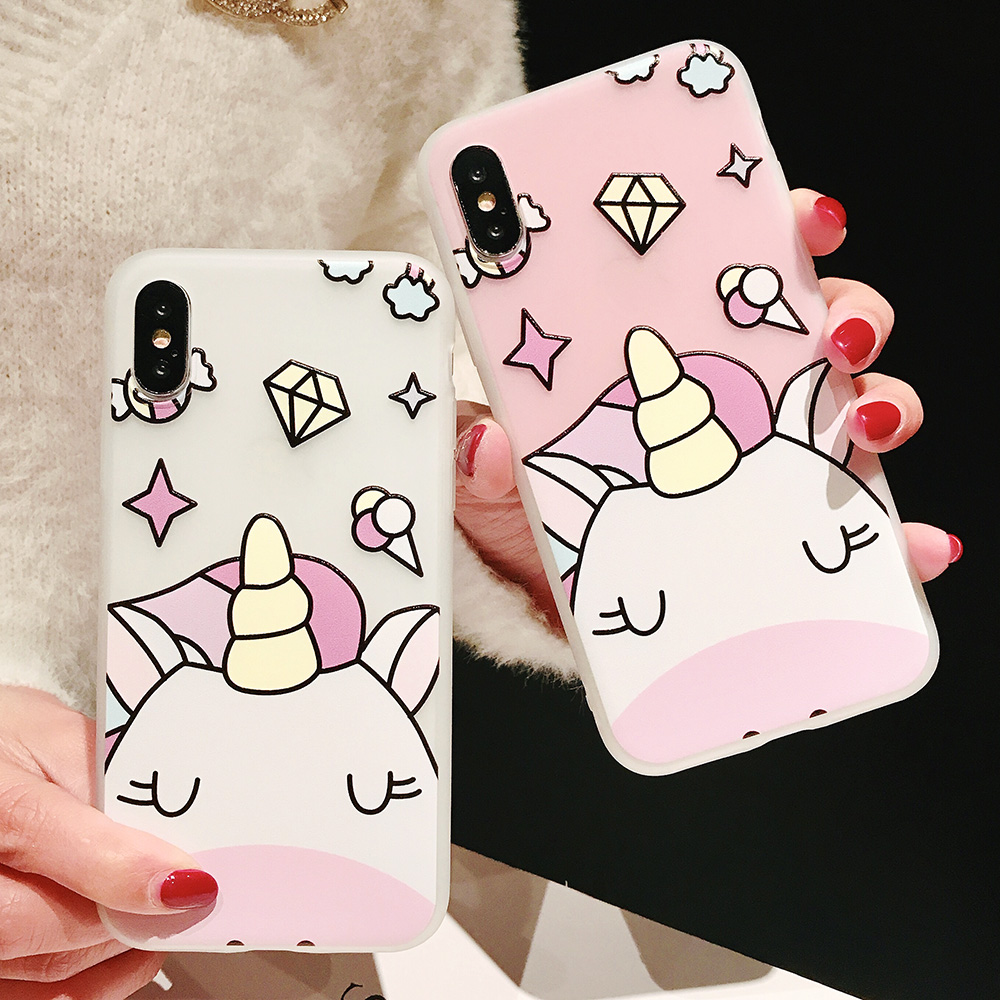 KIPX1104_7_JONSNOW Phone Case For iPhone XS Max XR XS 6 6S 7 8 Plus Funny Cute Emboss Unicorn Pattern Soft Silicone Cover Cases Capa Fundas