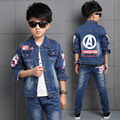 2017 New Fashion Spring Boy Clothes Denim Jacket Coat + Jeans Trouser 2Pcs Kids Clothes Letters Printed Boy Clothing Sets