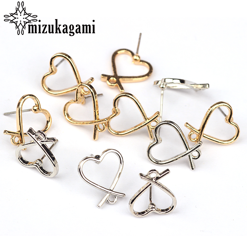 2018 New 13MM 6pcs/lot Zinc Alloy Gold And Silver Love Heart Sweet Base Earring Connector  For DIY Stud Earrings Accessories