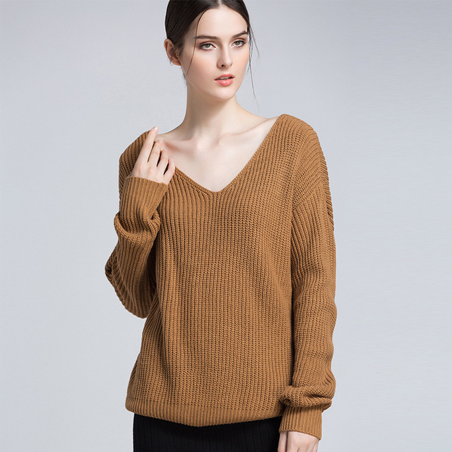 6d3b5c8520 OPZC Women Sweaters And Pullovers Long Sleeve Top Loose V-neck Thin Knitted  Bare Back Oversized Sweater