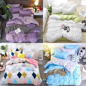 Image 4 - Bedding Sets Geometric Pattern Bed Sheet Children Student Dormitory Bed Linings Cartoon  3/4pcs Pillowcases Cover Set