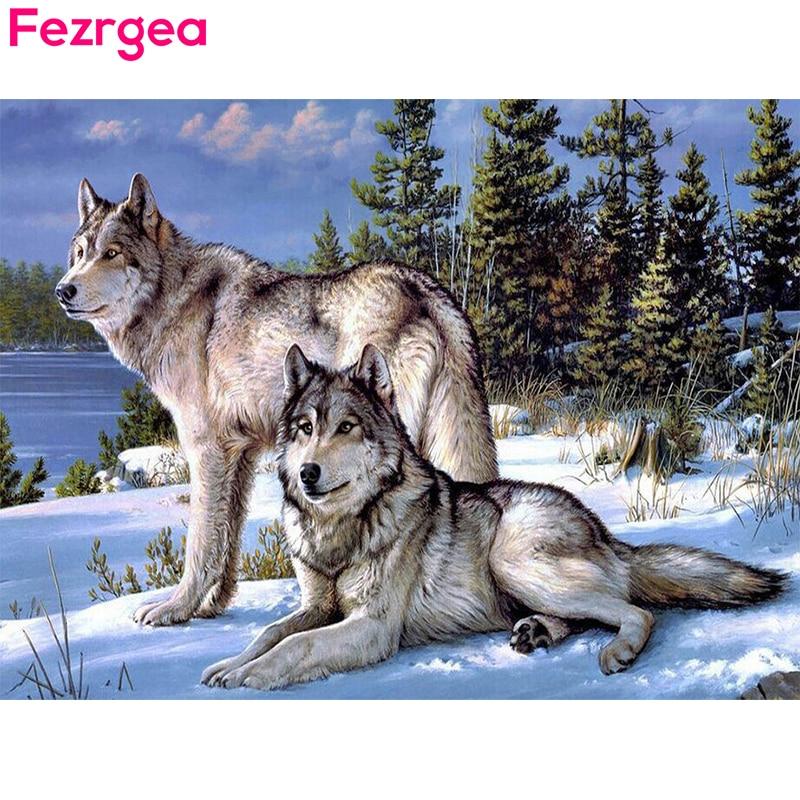 Fezrgea 5D DIY Diamante Bordado Nieve Lobo Diamante Pintura punto de - Artes, artesanía y costura