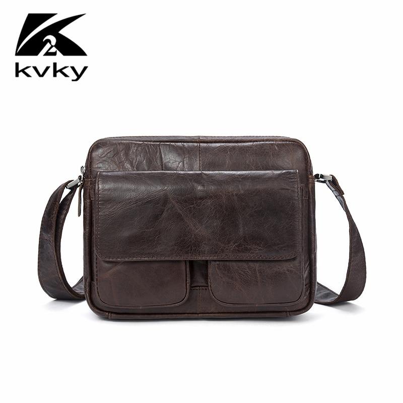 KVKY New Brand Casual Men Bag Fashion Genuine Leather Men Messenger Shoulder Crossbody Bags Vintage High Quality Leather Men Bag цены онлайн