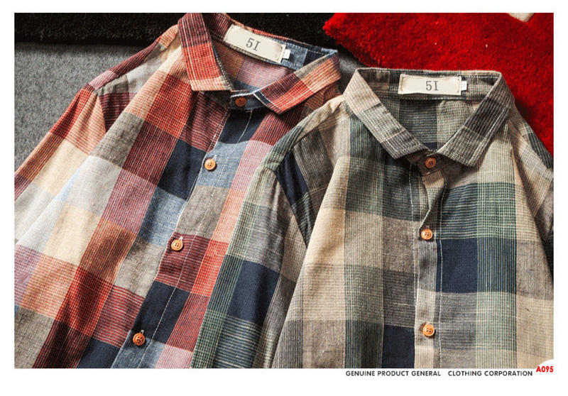 Check Shirts For Men Loose Men Button Up (9)