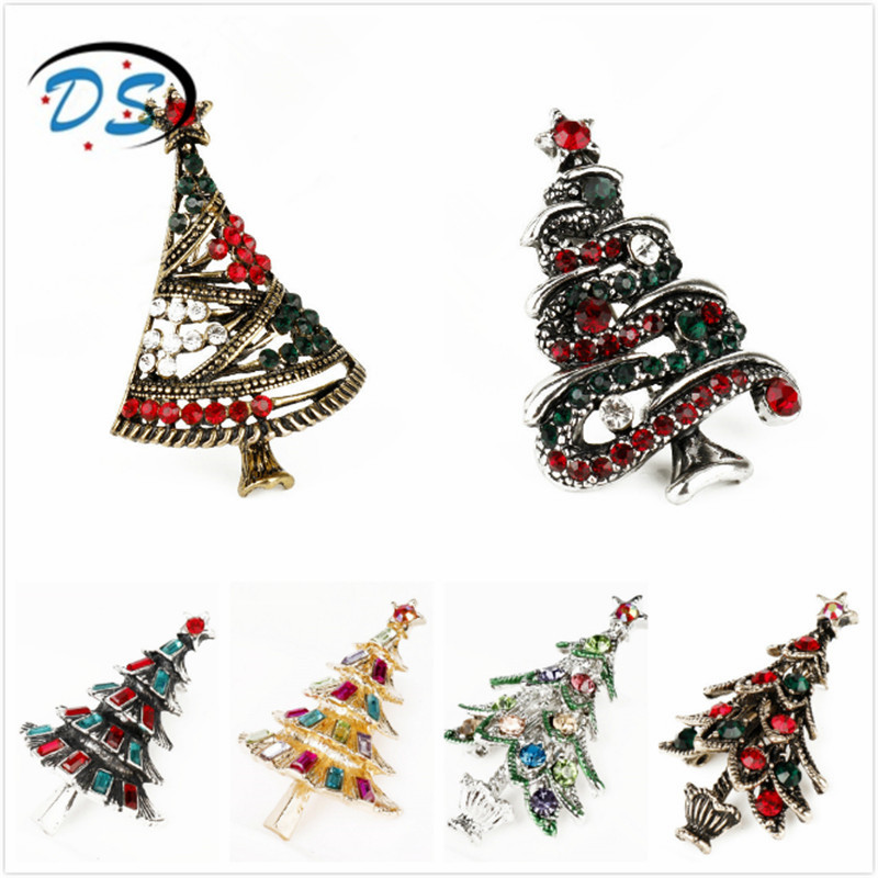 dongsheng jewelry Colorful Rhinestones Brooch Bouquet Theme Christmas Trees Brooches for Women Jewelry Pins Shirt/Cloth Gifts