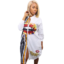 Здесь можно купить  Black White Long Sleeve Shirt Dress Women Stand Collar Button Up Printed Blouse Dress Vestidos Casual Loose Sequin Party Dresses