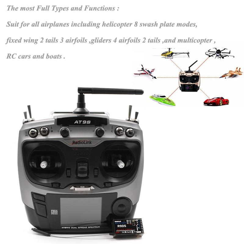 Transmisor de sistema Radiolink AT9S 2,4G 9CH con receptor R9DS AT9 visión de actualización de Control remoto para helicóptero RC quadcopter-in Partes y accesorios from Juguetes y pasatiempos    1