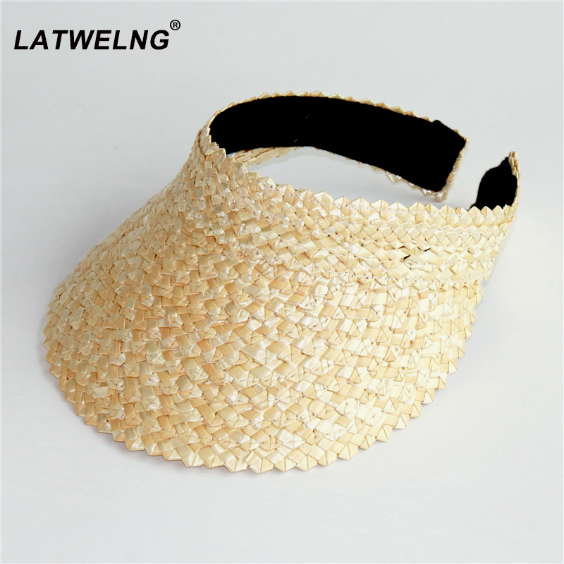 Wholesale Women Without Top Visor Caps Summer Straw Sun Hats Fashion UV Hat Elastic Head Circumference Beach Hat