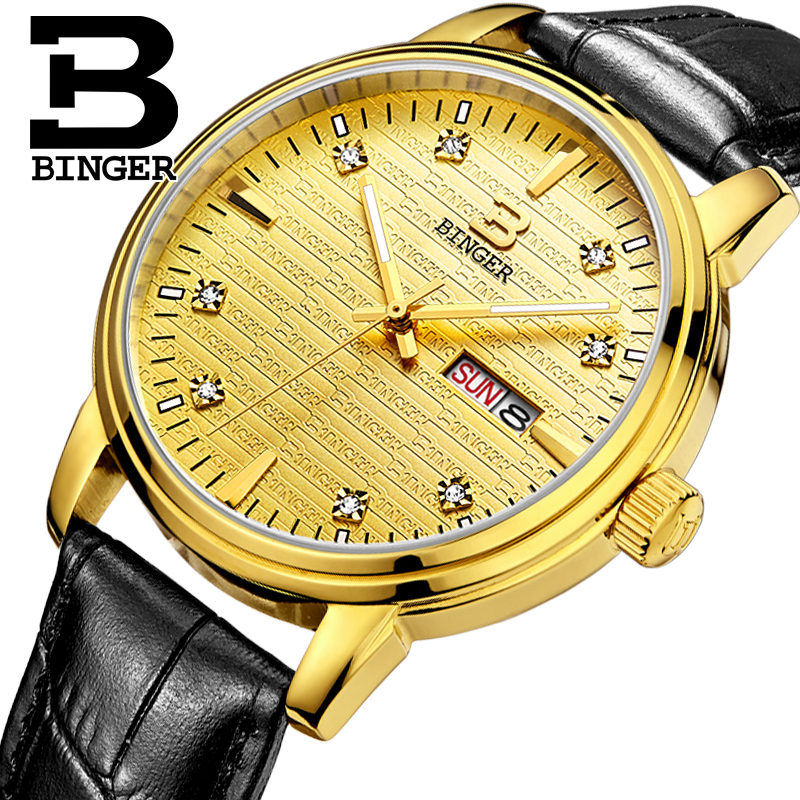 Genuine Luxury BINGER Brand Men quartz Leather strap Full steel watches Crossroad Waterproof free shipping catina counter stool charcoal