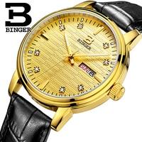 Genuine Luxury BINGER Brand Men quartz Leather strap Full steel watches Crossroad Waterproof free shipping