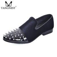 Tangnest Luxury Brand Men Dress Shoes Fashion Pointed Toe Rivets Oxfords Male Velvet Wedding Shoes Moccasins