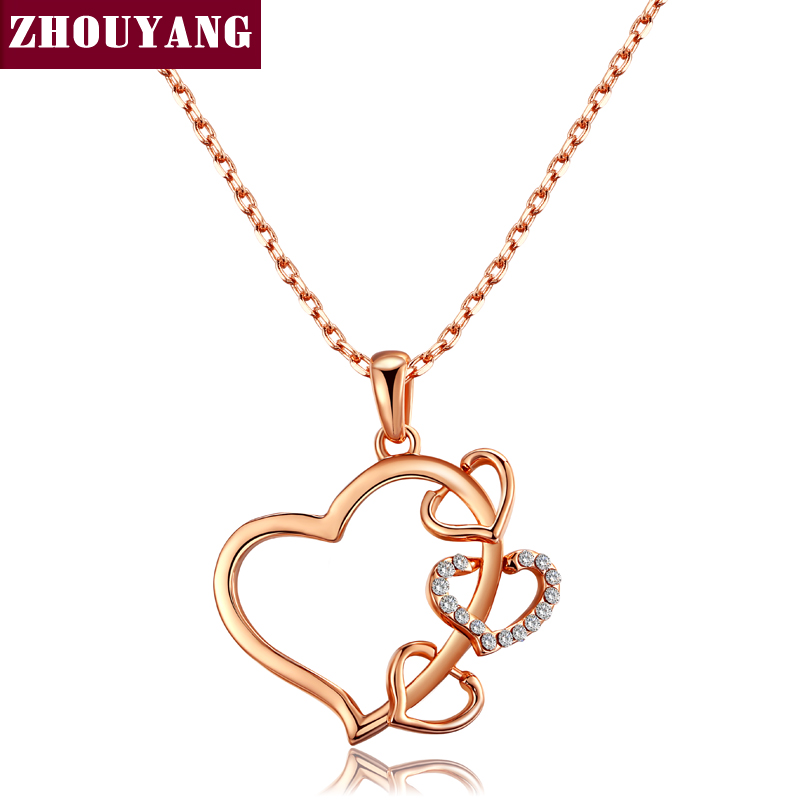 2603da73c752 ZHOUYANG de calidad superior ZYN459 amor corazón collar Rosa oro Color moda  joyería libre del níquel pendiente cristalino