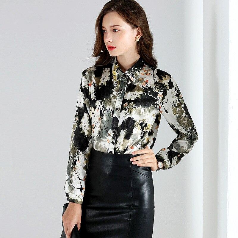 b80e27ea3c627b AYUNSUE 2018 Spring Fashion 92% Silk Blouse Office Women s Shirt Long  Sleeve Women Tops Blouses Plus Size blusa feminina YQ1072-in Blouses    Shirts from ...