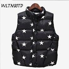 2017 new autumn winter cotton vest women's fashion large size Slim short printing pattern jacket Female Waistcoat