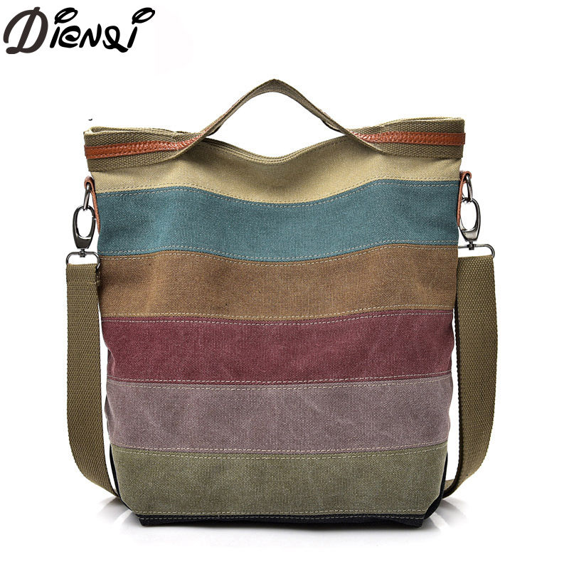 DIENQI Crossbody Bags Female 2018 New Casual Canvas Tote Bags Fashion Female Big Bag Women Canvas Shoulder Bag Bolsa feminina