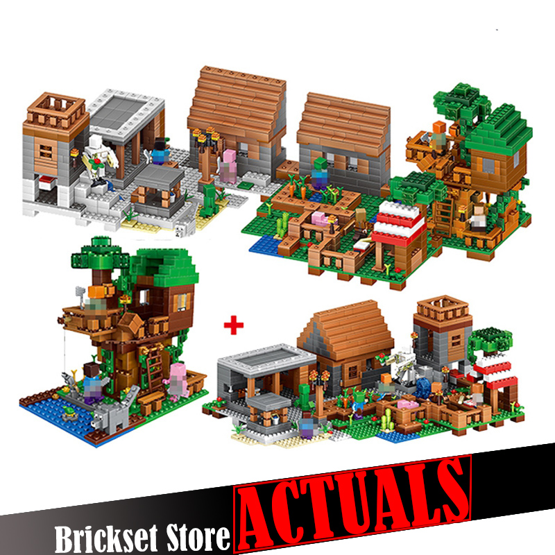 33068 1516PCS LELE My World Minecraft The Village & Jungle Tree House action figures Building Block Bricks Toy For Children Gift lepin 404pcs my world the jungle temple minecraft model kit anime action figure building block bricks hot toy for children 21132
