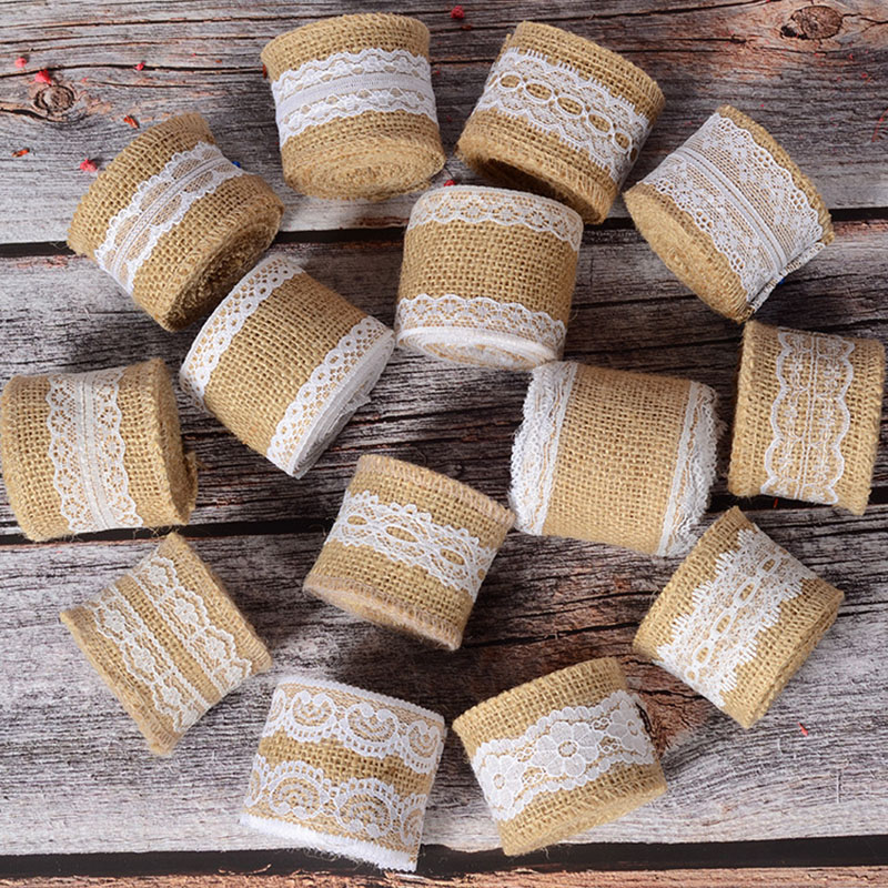 Roll of 2M Wedding Home DIY Craft Burlap Ribbon White Lace Decorated Width 5cm