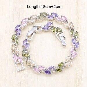 Разноцветные полудрагоценные камни Серебряный Цвет Ювелирные наборы для женщин обручальное кольцо серьги кулон ожерелье цепочка браслет наборы