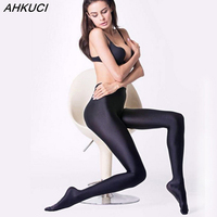 AHKUCI New Brand Women Sexy Black Shiny Elastic Tights Plus Size Nylon Stretchy Warm Pantyhose High