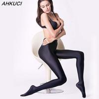 AHKUCI New Brand Women Sexy Black Shiny Elastic Tights Plus Size Nylon Stretchy Warm Pantyhose High