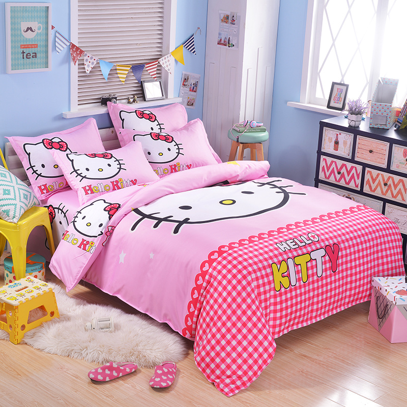 UNIKIDS Cute cartoon duvet cover set bedding set for Kids boy or girls Twin size KT007 blue pink cartoon london buss star shaped polka dot print bedding set queen size for girls home decor cotton duvet quilt covers