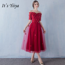 It s YiiYa New Appliques Wine Red Bridesmaid Dresses Fashion Boat Neck A-line  Party Frocks YG009 7bb3c449394f