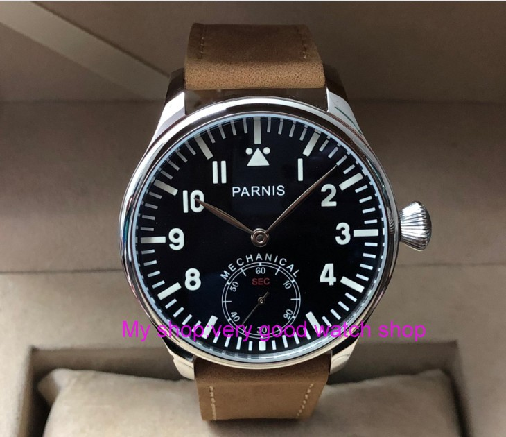 44mm PARNIS Pilot Asian 6498 Mechanical Hand Wind movement Mechanical watches black dial mens watches wholesale PA75-844mm PARNIS Pilot Asian 6498 Mechanical Hand Wind movement Mechanical watches black dial mens watches wholesale PA75-8