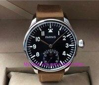 44mm PARNIS Pilot Asian 6498 Mechanical Hand Wind movement Mechanical watches black dial men's watches wholesale PA75 8