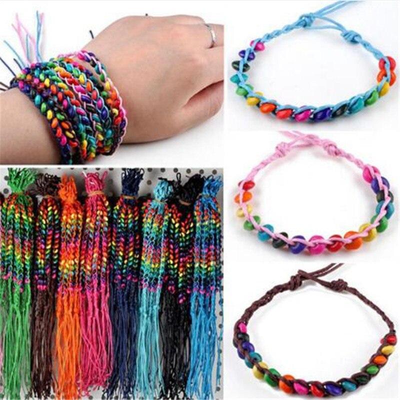 Wholesale 10 Pcs Lots Handmade Wood Beads Bracelets Cuff Bangles For Women Girls Charm Friendship Jewelry Accessories