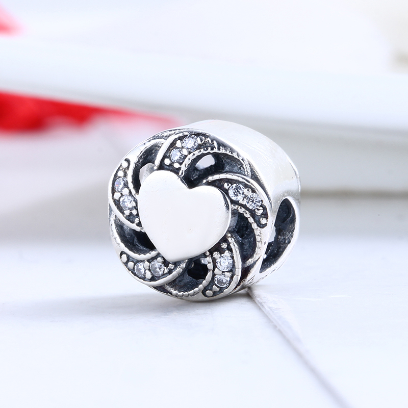 100% 925 Sterling Silver Fit Original Pandora Bracelet Ribbon Heart Charms Clear CZ DIY Charm Beads for Jewelry Making Gift