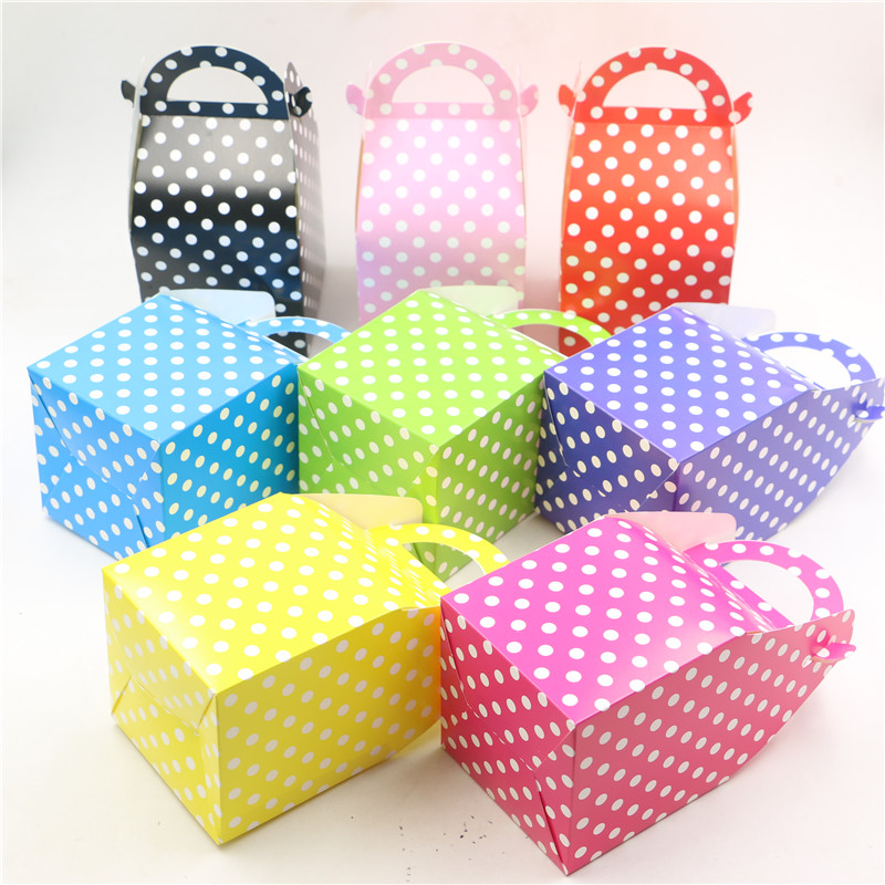 20*10*10 cm colorful polka dot caja de dulces feliz festival fiesta de cumpleaño