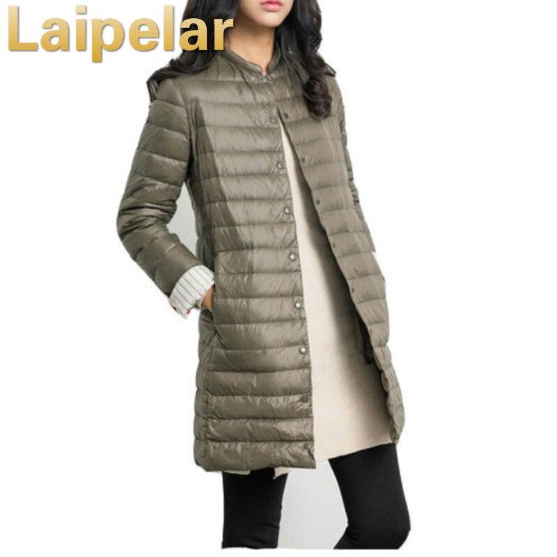 Laipelar Jacket Women 2018 Winter Autumn Ultralight White Cotton Coat Long Casual Thin Parka Fur Padded